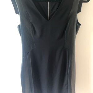 Leather panel body con dress